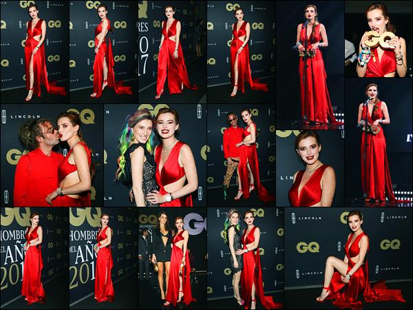 - ..26/10/17.. - Bella Thorne était présente au « GQ Mexico Men of The Year Awards », étant, dans Mexico.Notre magnifique miss Bella Thorne a remportée le « International Rising Star Award » lors de la soirée ! Coté tenue, c'est un gros top de ma part ! -