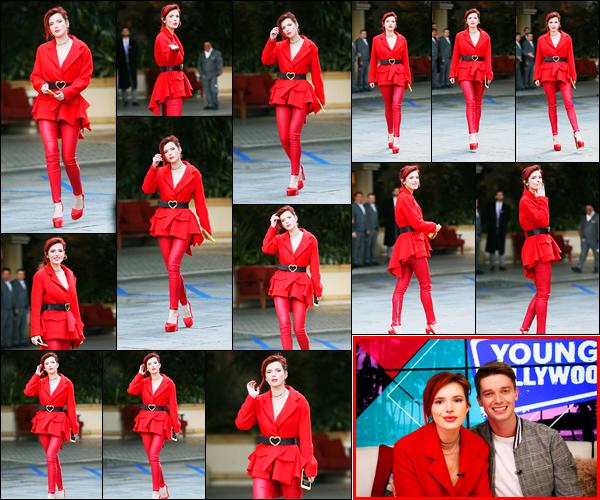 - - 14.03.2018 -''▬ Bella Thorne a été photographiée alors qu'elle arrivait à l'hôtel « Four Seasons », à Beverly Hills !La belle actrice a accorder une interview à « Young Hollywood » en compagnie de Patrick Schwarzenegger. Sa tenue est un merveilleux top de ma part ! -