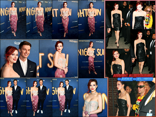 - - 15.03.2018 -''▬ Bella Thorne était présente lors de l'avant-première de son film « Midnight Sun » à Los Angeles !La belle actrice B. qui interprète le rôle de Katie a foulé le tapis rouge en compagnie de Patrick Schwarzenegger. Sa tenue est un beau top de ma part ! -
