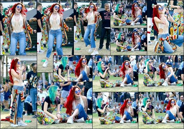 -26/04/2018- ─ Bella Thorne a été photographiée, alors, qu'elle était présente lors du festival de « Coachella », à l'Indio !C'est cette fois-ci en compagnie de sa s½ur, Dani, que la belle a été photographiée en train de s'amuser comme une folle. Sa tenue est un très jolie top !