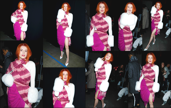 -10/02/2019- ─ Bella Thorne était présente lors du défilé : « Prabal Gurung show » durant la Fashion Week de New York !C'était pour la collection d'automne/hiver 2019 que l'actrice s'y est rendue. Elle portait une tenue vraiment très spéciale, c'est un grand flop pour ma part.