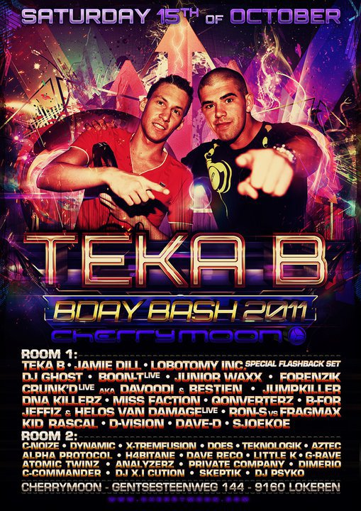 15 Octobre Play @t Cherry Moon Teka B B-Day Bash !
