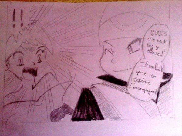 Rubis demande a Saphir de l'aidé (mon dessin que j'ai copier comme l'autre)