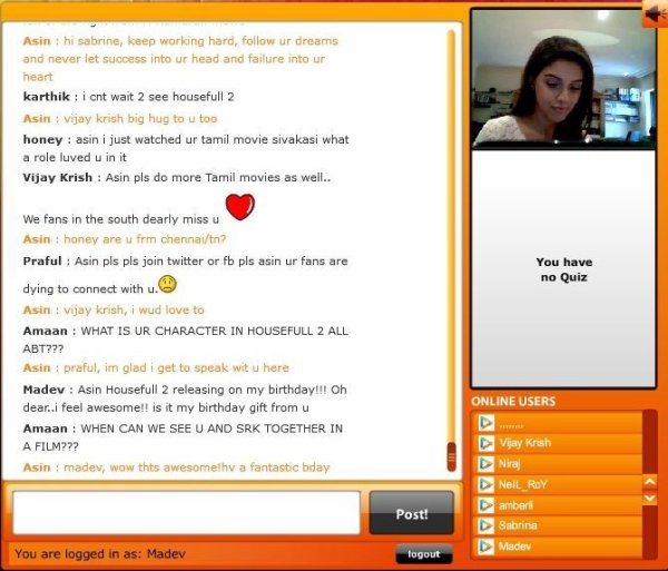 Live chat with Asin in Bollywood Hungama 24/3/12