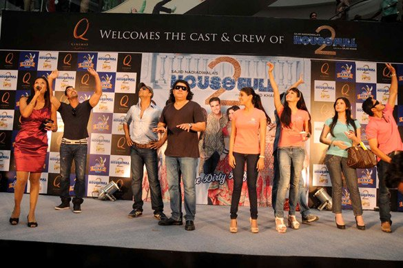 Cast of Housefull 2 at a promotional event in Bengaluru