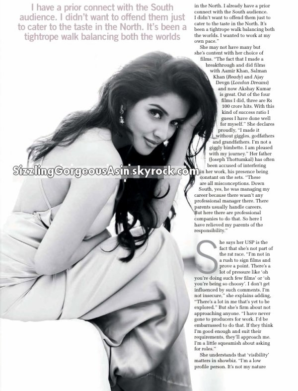 Excerpt from Asin's Interview for Filmfare, May 2012