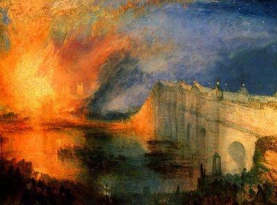 J.-M.-W. Turner «L'incendie de la Chambre des Lords à Londres», 1835. En hommage à Gilles, Julien et Rémi nos anges pompiers !