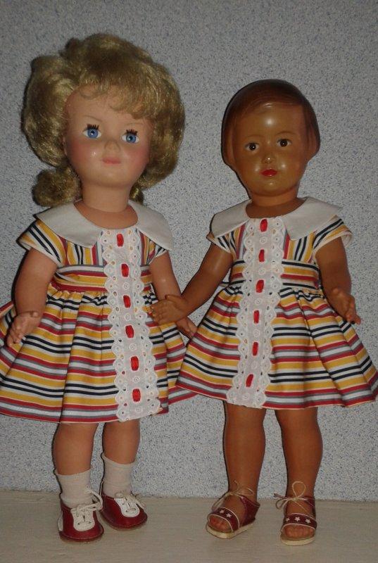 La robe de Juin 1960, rayures bayadères et broderie anglaise.