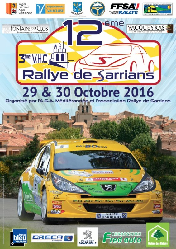 Rallye de Sarrians 2016 -L'affiche et les photos