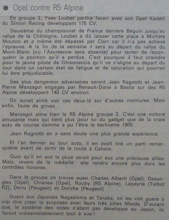 Tour de Corse 1979 - Photos