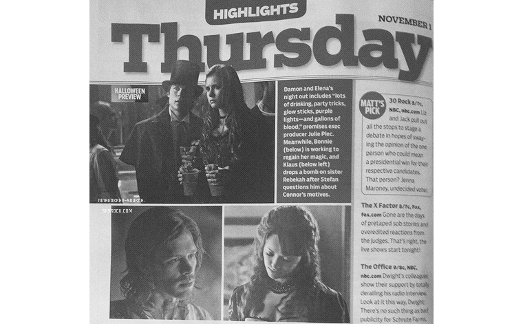• Un webclip exclusif du 4x03, le nouveau générique de The Vampire Diaries et un scan du magazine TV Guide