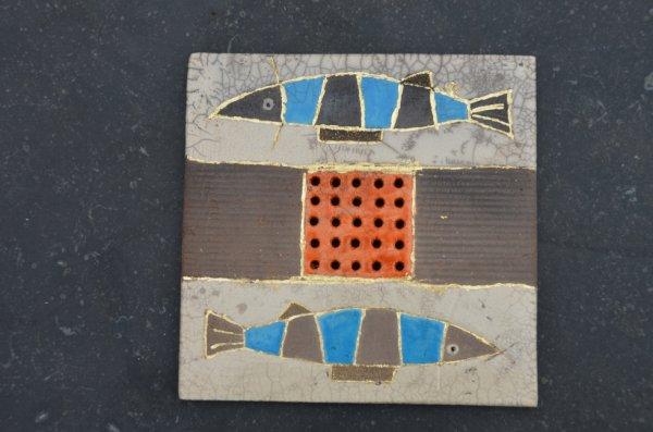 Grand cadre poissons - raku - feuille d'or