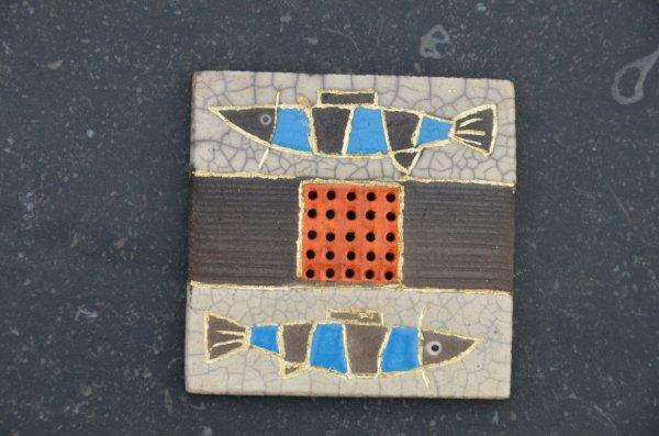 Petit cadre poissons - raku - feuille d'or