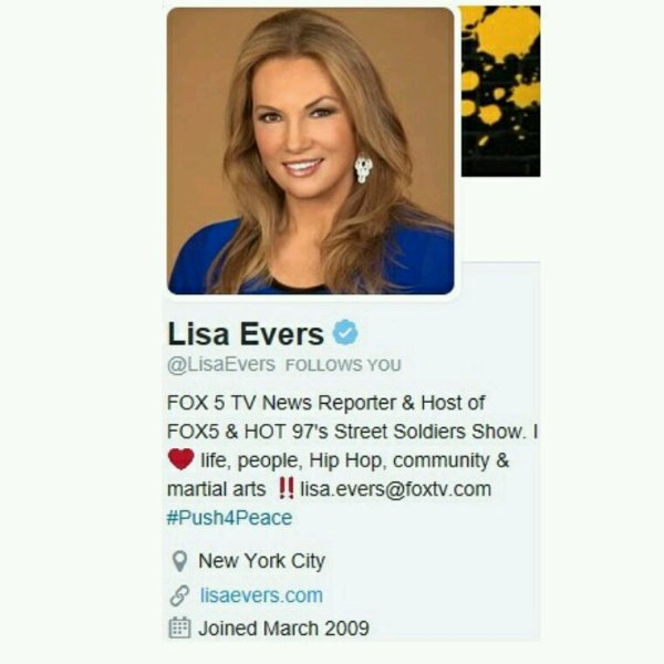 Lisa Evers... Host of Hot 97's Street Soldiers & Fox 5 TV News Reporter. One Love Lisa..Thx 4 The Support @YoungGifted3000 reverbnation.com/younggifted4