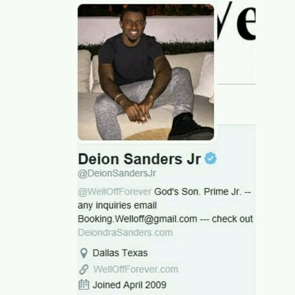 Deion Sanders Jr. Son of one of the most famous dad in the world Deion Sander of the  Dallas Cowboys!! Peace Deion...Salute Thx 4 the support @YoungGifted3000 reverbnation.com/younggifted4