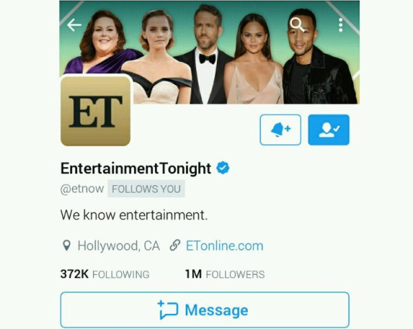 Entertainment Tonight... Tnx 4 the follow & Support!! Lookin forward 4 you doin  A segment on us in the near future!! @YoungGifted3000