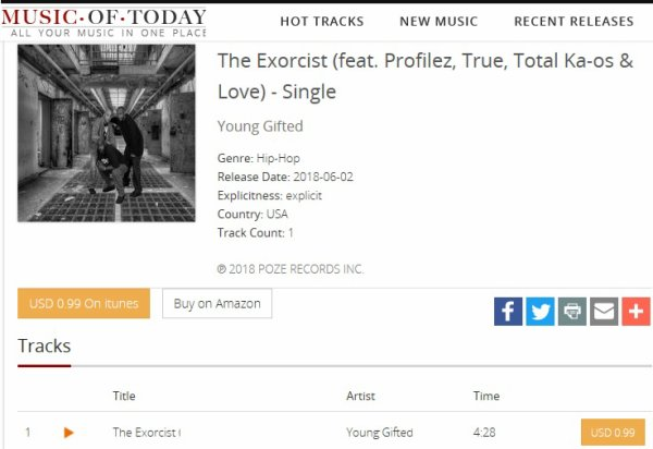 """Music-Of-Today Featuring Young Gifted  Latest Single """"The Exorcist""""  https://music.of.today/music/1382484497/the-exorcist-feat-profilez-true-total-ka-os-love-single-young-gifted"""
