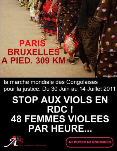 RDC : Grande marche Paris-Bruxelles contre les viols au Congo. Par DEDEBUNDES