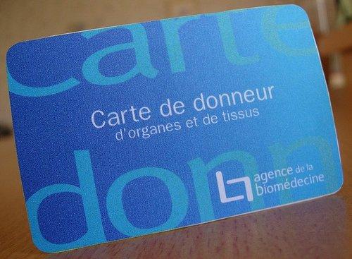 La carte de donneurs d'oragnes ( mobilisation sublémentaire venent de
