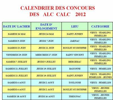 PROGRAMME  DES CONCOURS  A-L-C  C-A-L-C  2012
