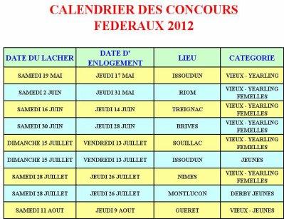 PROGRAMME DES CONCOURS FEDERAUX  2012