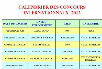 PROGRAMME DES CONCOURS INTERNATIONNAUX 2012