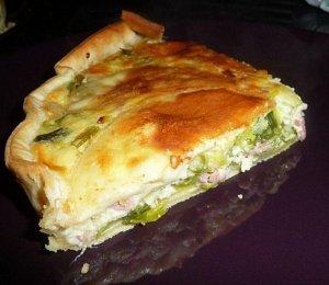 Tarte aux poireaux et lardons ou jambon ou saumon