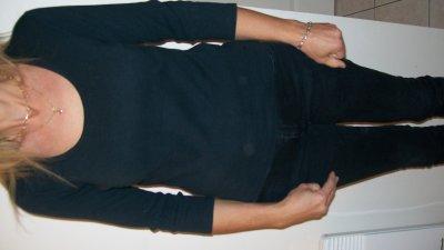 tee-shirt manche 3/4 noir