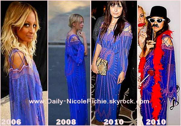 http://daily-nicolerichie.skyrock.com/ http://daily-nicolerichie.skyrock.com/ http://daily-nicolerichie.skyrock.com/ Recyclage, par Nicole Richie: Quand Nicole aime, Nicole le montre! Et c'est ce qu'elle fait avec cette splendide robe vintage Zandra Rhodes, qu'elle porte pour la 4e fois le 14 août dernier parce qu'en effet elle avait déjà porté 3 fois avant celle-ci. La 1er fois c'était au Tyra Banks Show en 2006 puis l'été 2008 au mariage Ashlee Simpson et Pete Wentz et enfin aux Grammy Awards AMY en janvier 2010! Personnellement je la comprends, cette robe est magnifique et originale! & si elle aime vraiment, pourquoi ne la mettrait-elle pas plusieurs fois? Ton avis ?  ~ DEVIENS FAN ! ♥____ http://daily-nicolerichie.skyrock.com/