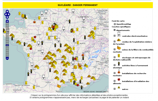 carte de france des installations nucleaires  ...
