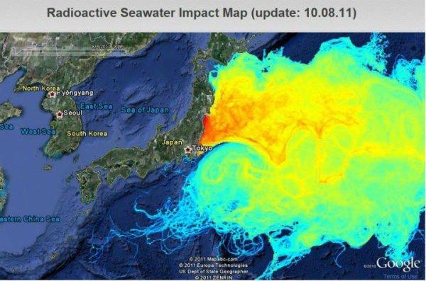 Radioactive Seawater Impact Map  ( nuclear cloud fukushima)
