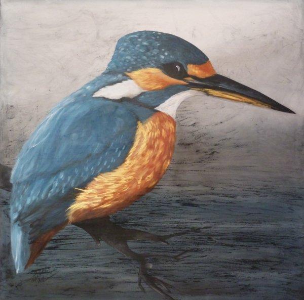 Le martin pêcheur sur toile 100x100