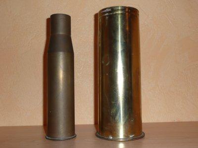 douille de 37 mm US 39-45 et de 77 mm allemande 14-18