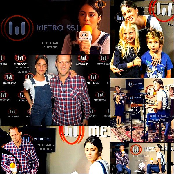 """. 08 avril 2015 : Étant en vacances, Tini a fait une apparition à la radio Métro 95.1 en compagnie de Pancho, son coach vocal. Lors de ce petit événement, elle a répondue à plusieurs questions et y a chantée """"Soy Mi Mejor Momento"""", chanson issue de la série Violetta. ."""