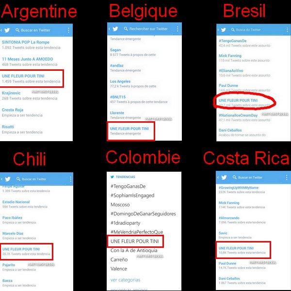"""""""Une Fleur Pour Tini"""" Et oui, c'est officiel ! Le parfum de Martina sortira prochainement et se nommera """"Une Fleur Pour Tini"""", un nom français ! La nouvelle s'est répandue comme un éclair sur le réseau social Twitter ! Si bien qu'en 2 heures, plusieurs pays dont la France ont finis en TT (Qu'on pourrait appeler Tendances Twitter) ! Un vrai record pour notre pays ! Au final, le hashtag #UneFleurPourTini c'est retrouvé en TT dans plus de treizes pays du monde : Argentine, France, Costa Rica, Panama, Russie, Colombie, Italie, Belgique, etc... ! Retenons que le 19 juillet a été riche en emotions... et en hashtag ! Ce jour-là, beaucoup d'hashtag se sont crées en l'honneur de Tini. Le plus fréquent restera bel et bien """"Une Fleur Pour Tini"""" ! Découvrez sans plus attendre les screenshots de plusiseurs fans du monde entier ! PS : Toi aussi tu as Twitter ? Alors n'hésite pas à aider la communauté française des Tinistas en tweetant ces deux hashtags : #FranciaAmaTini et #OnDonneUneFleurATini ! Merci de ton aide ♥  Article by MartinaStoessl, pas de plagiat svp."""