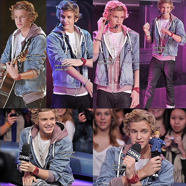 22 dec. Cody sur le plateau de l'émission « Much Music » à Toronto, au Canada.   .