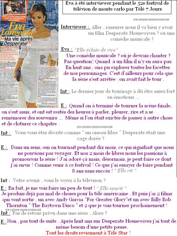 """.Eva à été interviewer par le magasine français """" télé Star """" , voici l'interview !  Touts les droits reviennent au magasine Télé Star .  ____________________________________________________________________________________________"""