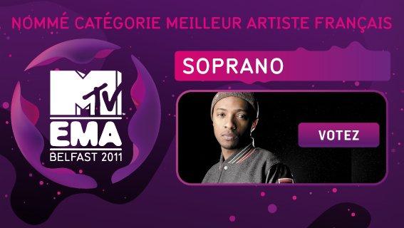 """SOPRANO NOMINE AU """"MTV EMA"""" DANS LA CATÉGORIE : MEILLEUR ARTISTE FRANÇAIS"""