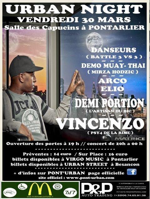 Rendez-vous tous à Pontarlier à la salle des Capucins Vendredi 30 mars à 20h pour un concert de Vincenzo