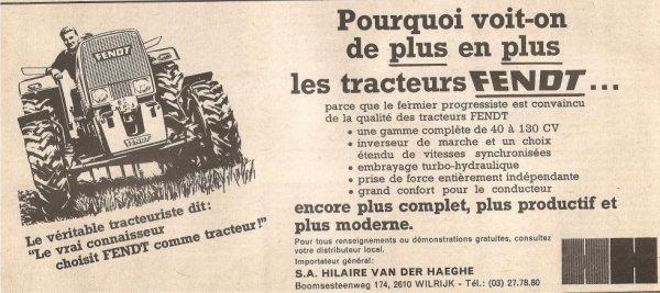 pour le plaisir ! Pub Fendt Sillon Belge 20 oct 1973 , n° 1610 .