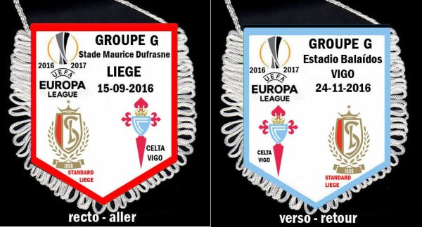 FANION WIMPEL PENNANT EUROPA LEAGUE 2016/2017 GROUPE G-H-I-J-K-L STANDARD GENT