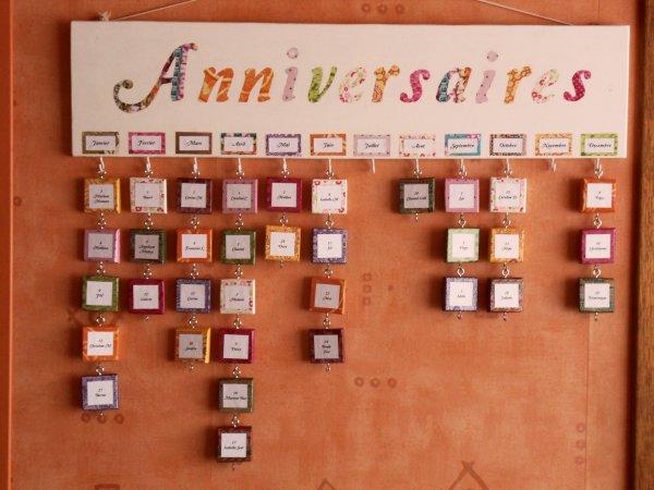un calendrier anniversaire