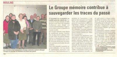 Des nouvelles du groupe mémoire de Lille-Moulins
