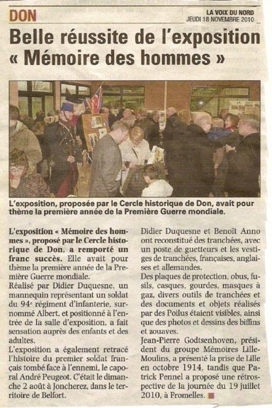 """Cercle historique de Don, belle réussite de l'exposition """"Mémoire des hommes"""""""