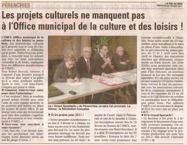 Des nouvelles de l'office municipal de la culture et des loisirs de Pérenchies