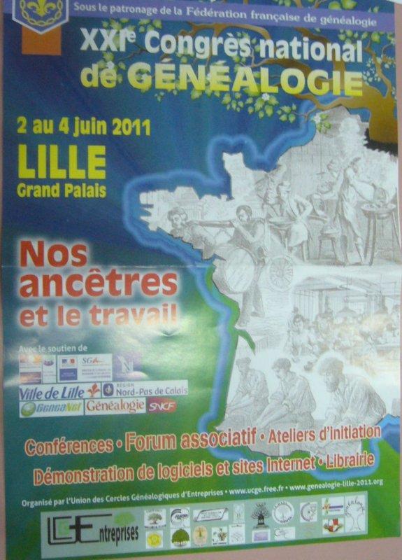 21ème congrès national de généalogie à Lille Grand Palais du 2 au 4 juin