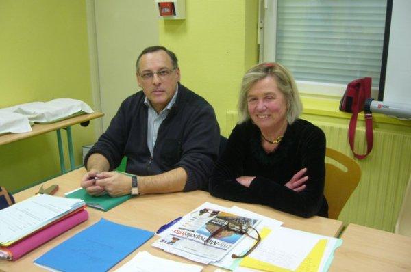 Assemblée générale de Weppes en Flandre : notre présidente Chantal Dhennin et notre trésorier Philippe Jourdan, photographiés par votre serviteur