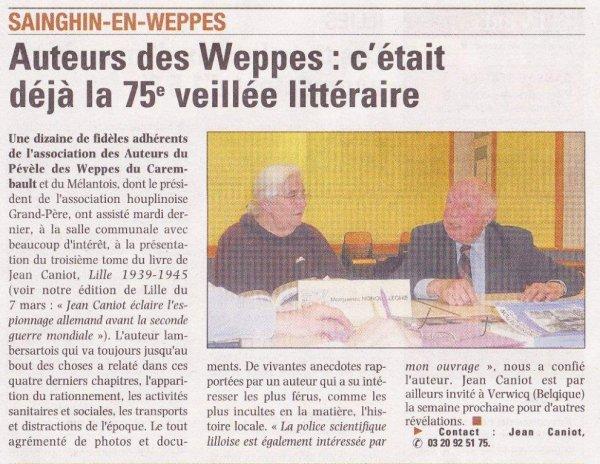 75ème veillée littéraire des Weppes (source La Voix du Nord)