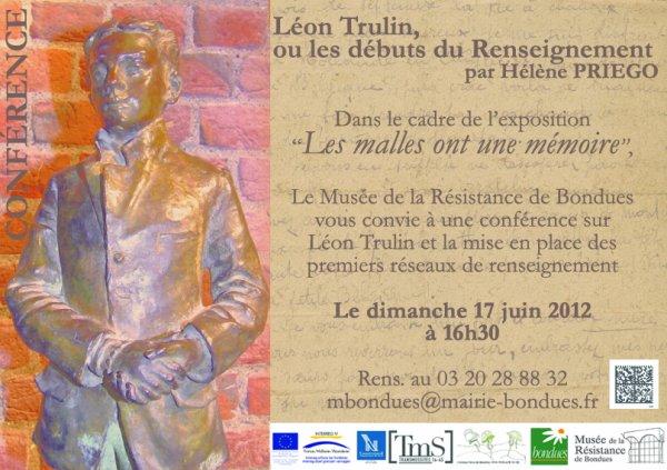 """Conférence sur Léon Trulin dans le cadre de l'exposition """"Les malles ont une mémoire"""" au musée de la Résistance de Bondues"""