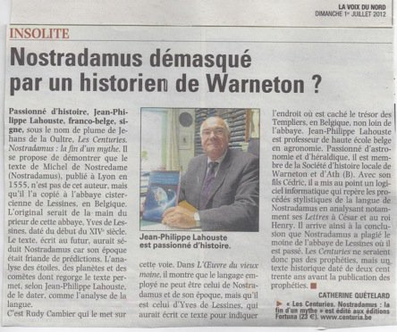 La société historique de Comines Warneton à l'honneur dans la Voix du Nord pour une histoire... fantastique !